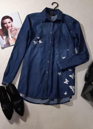 Стильная джинсовая рубашка.размер s-m