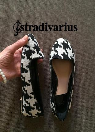 Финальный sale новых вещей! stradivarius трендовые лоферы черно-белая гусиная лапка