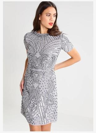Шикарное нарядное вечернее платье с вышивкой бисером
