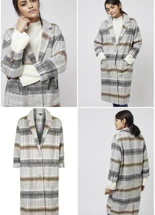 Пальто topshop длинное, в клетку, с карманами, пушистое, облегченное, шерсть 26%