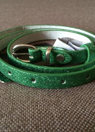Финальный sale новых вещей! terranova новый зеленый пояс, ремень с глиттером, блестками