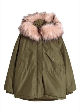 Парка на весну куртка хаки с розовым мехом