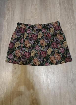 Мини короткая юбка гобелен