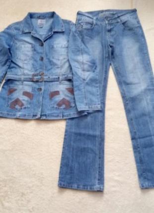 Крутой джинсовый костюм р.50/52 на высокую модницу