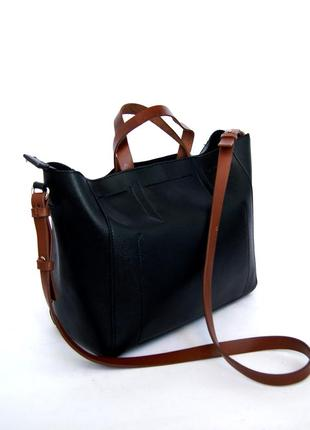 Mango. кожаная объемная сумка на плечо