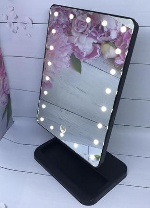 Белое зеркало для макияжа с led подсветкой magic makeup mirror, цвет чёрный