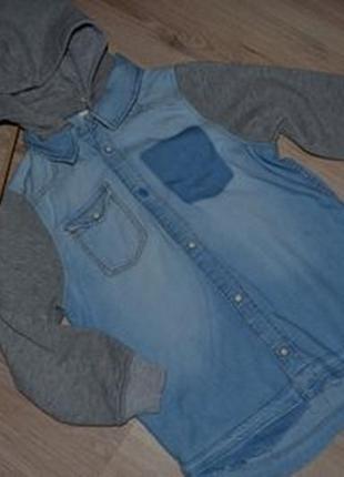 Рубашка с капюшоном кофта джинс h&m р122 капюшон съемный, рукав утепленный