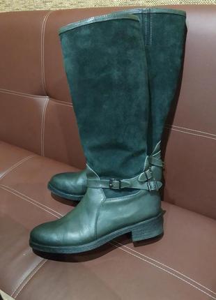 Новые кожаные сапоги натуральная кожа и замша чоботи сапожки