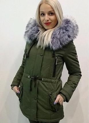 Зимняя теплая парка куртка пальто цвета хаки olanmear