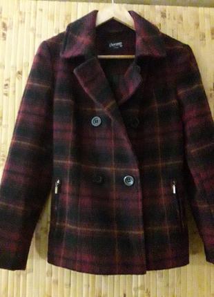Шерстяное пальто полупальто куртка клетка р .38-40
