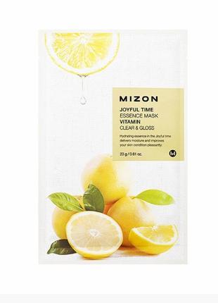 Тканевая маска с экстрактом лимона и витаминамиmizon joyful time vitamin essence mask