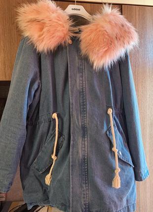 Джинсовое пальто на меху; джинсовка с искусственным мехом зимняя для