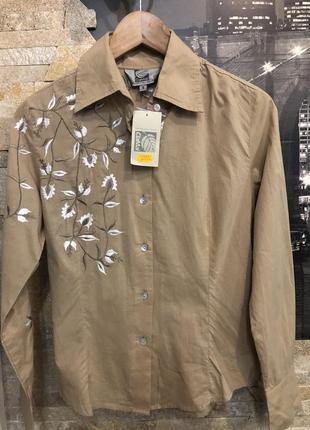 Котоновая бежевая рубашка clamal