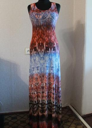 Платье в пол,градиент с орнаментом,р.s