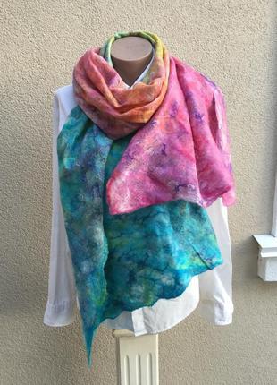 Эксклюзив,большой шарф,палантин,накидка из тонкой,валяной,радужной,разноцветной шерсти