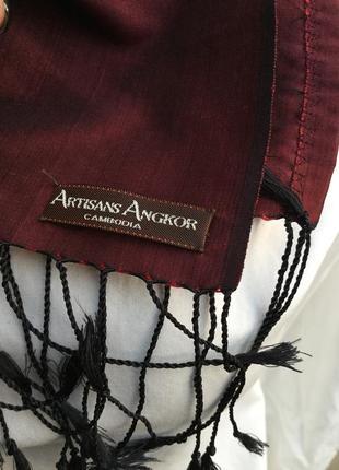 Эксклюзив,легкий шарф с бахромой,унисекс,шелковый,камбоджия.