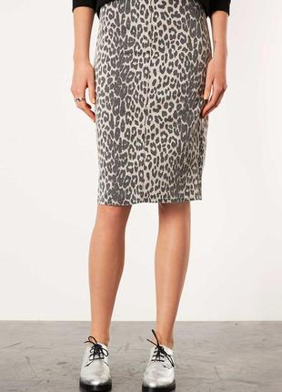 Миди юбка topshop w30 leopard print