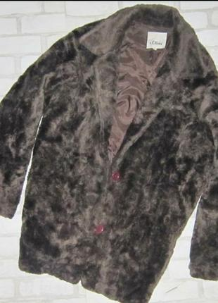 Трендовое пальто-шубка , цвета шоколад