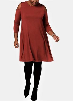 Платье-футболка приглушенный коралл с вырезами по рукавам, батал 3х ( 56-58 рр)