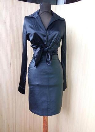 Французская кожанная юбка с высокрй талией xs/s
