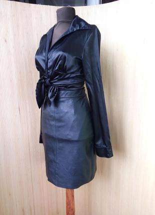 Французская кожанная юбка с высокрй талией xs/s2