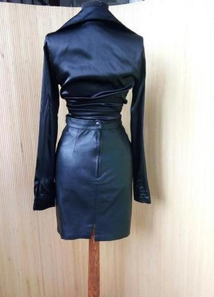 Французская кожанная юбка с высокрй талией xs/s3
