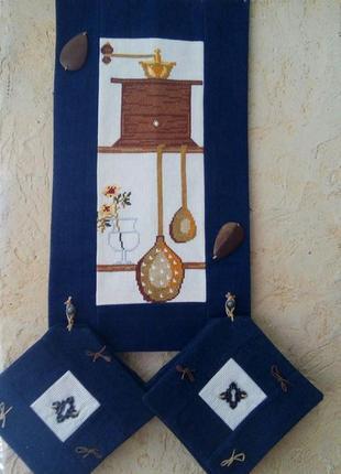 Hand made салфетки на панно для кофе вышивка джинс
