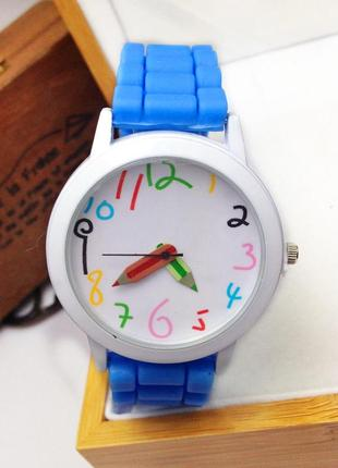 Детские часы карандаши голубого цвета