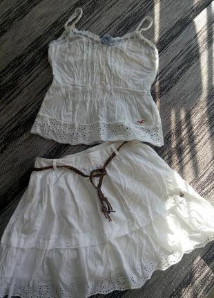 Хлопковый костюм майка hollister и юбка