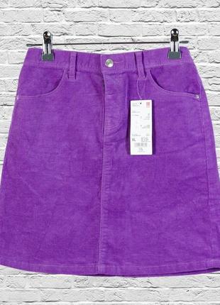 Короткая юбка трапеция сиреневая, вельветовая юбка короткая