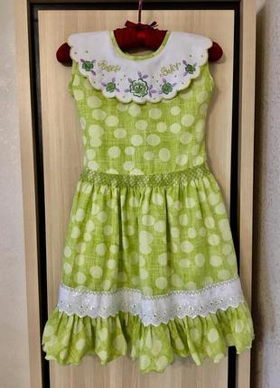 Платье батистовое  натуральное с вышивкой прошвой