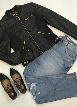 Черная куртка курточка из кожзама на молнии selected размер l/12/40.