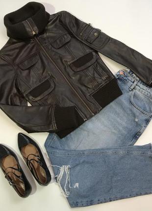 Натуральная кожа!!! кожаная куртка курточка от mango размер xs/6/34.