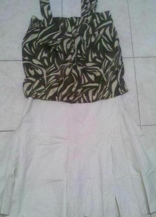 Костюм лен юбка блуза р с-м-л