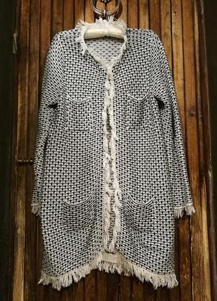M&s. красивенный сверкающий кардиган коттон с бахромой люрексом карманами