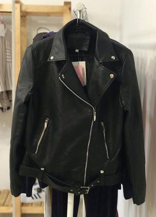 Стильнюча утеплена шкірянка, косуха, куртка, еко-шкіра, чорний колір, glo-story