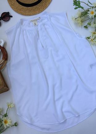 Базовая белая вискозная блуза без рукавов от h&m размер м/38/10.