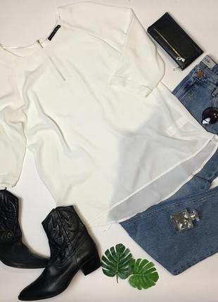 Простая белая шифоновая блуза с длинным рукавом от atmosphere размер xxl/16/44.