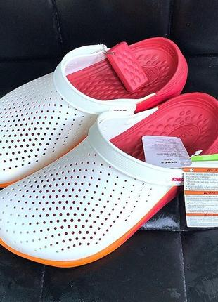 Сабо крокс тапочки сланцы crocs literide clog graphic white/orange оригинал