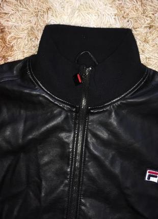 Куртка бомбер fila leather jacket кожа оригинальная2