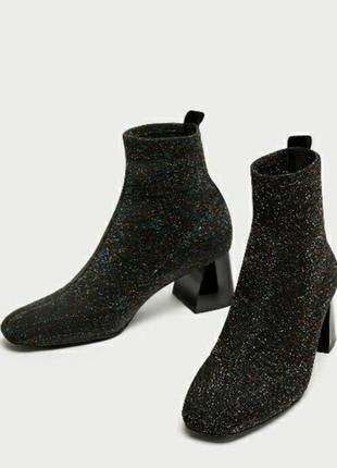 Стильные люрексовые блестящие ботинки ботильоны чулки