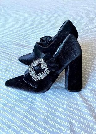 Ботильоны туфли сапоги ботинки бархатные черные с брошью бантом купить цена