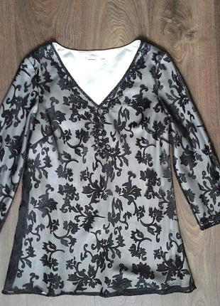 Туника блузка а-силуэта (черная органза на белой атласной подкладке)