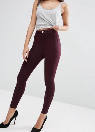 🌿 бордовые джинсы скинни / легинсы с высокой посадкой | брюки / штаны