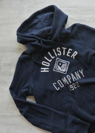 Hollister тёмно-синяя утеплённая худи толстовка