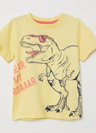 Футболка с динозавром h&м 2-10 лет