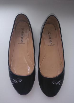 Туфлі балетки чорні лаковані