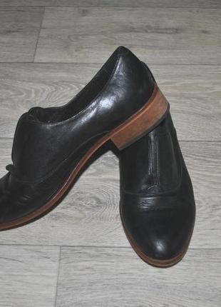 Туфли классика модные натуральные стильные черные 38-39 кожаные