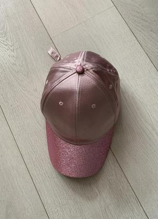 Кепка розовая в блестках, женская кепка, бейсболка