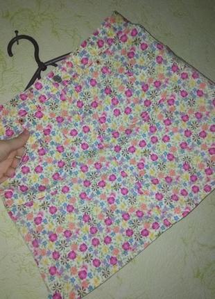 Классная яркая мини юбка в цветы